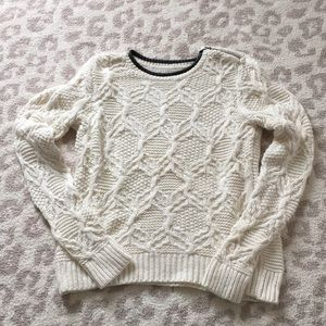 Heavy Weight Cream Sweater with Leather Trim